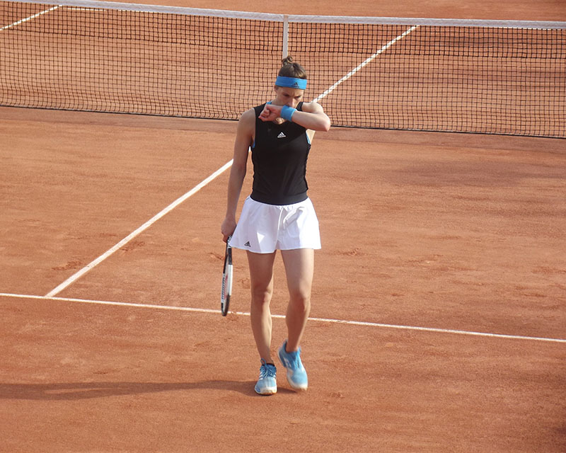 Andrea Petkovic thinking on court at Roland Garros