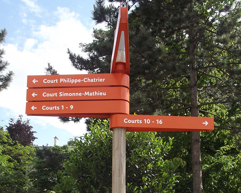 Signs for directions at Roland Garros