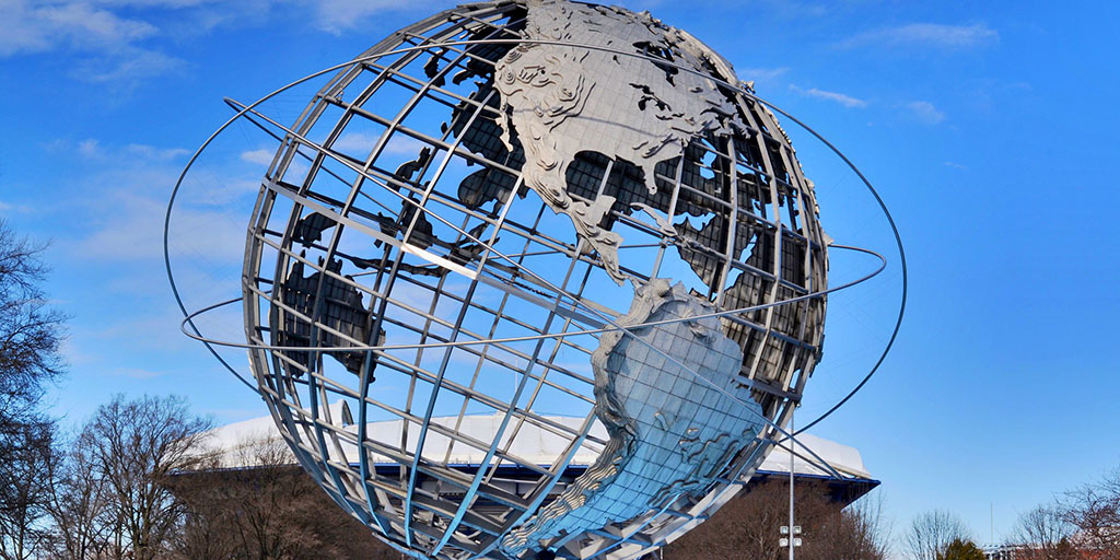 The Unisphere and Arthur Ashe Stadium in Flushing Meadows
